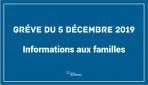 Mouvement social du 5 décembre 2019 : information aux familles